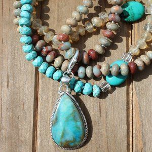 Long Beaded necklace with Pendant Hand Knot